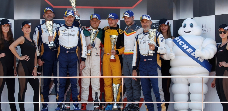 Victory for the Aston Martin Vantage in the Ultimate Cup Series GT4 race.